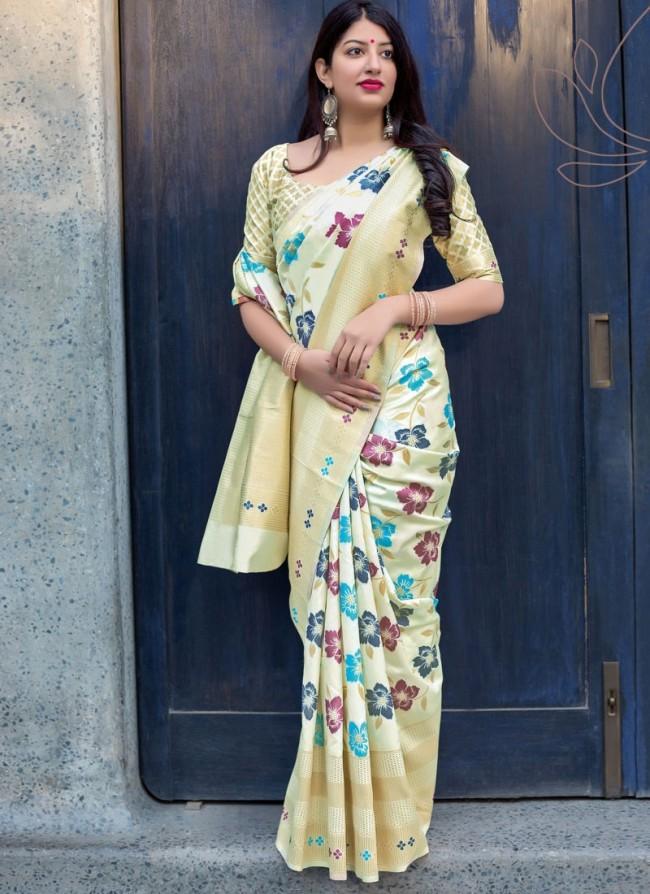 jamdani heavy work silk saree